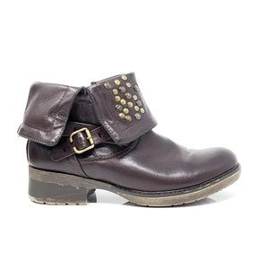 Bare Trap Chunky Plum Brass Rivet Ankle Boots